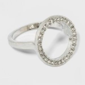 A New Day Open Circle Silver Stone Ring 7 NWT